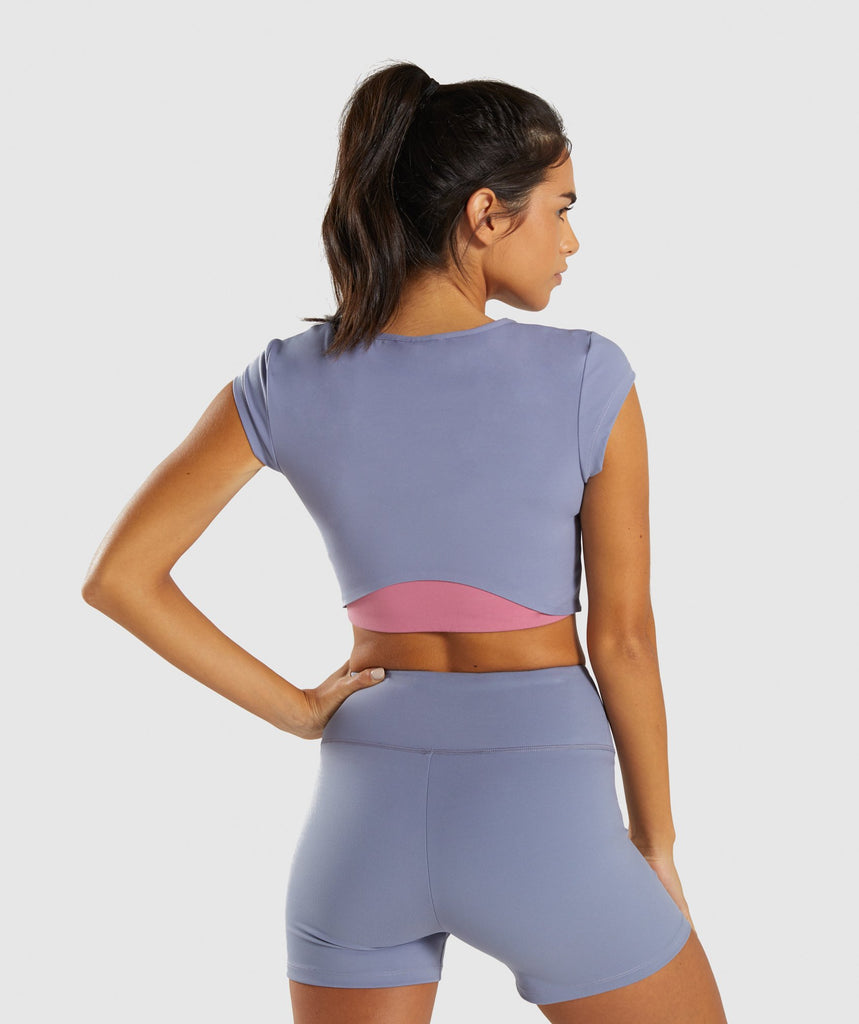 Gymshark Dreamy Cap Sleeve Crop Top - Steel Blue 2