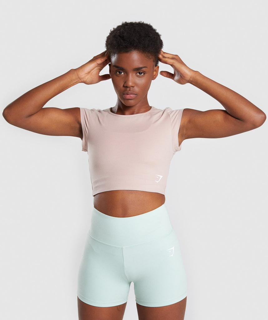 Gymshark Dreamy Cap Sleeve Crop Top - Taupe 1