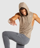 Gymshark Drop Arm Sleeveless Hoodie - Driftwood Brown 9