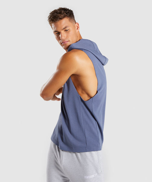 Gymshark Drop Arm Sleeveless Hoodie - Aegean Blue 2