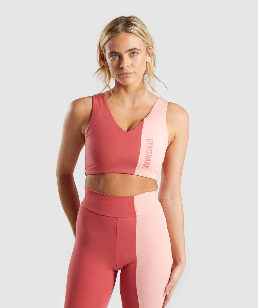 Gymshark Duo Sports Bra - Brick Red/Peach 1