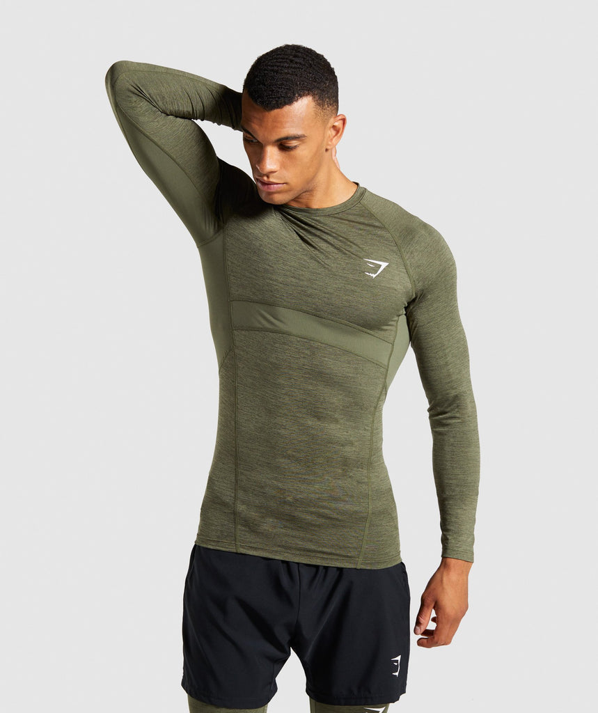 Gymshark Element+ Baselayer Long Sleeve Top - Dark Green Marl 1