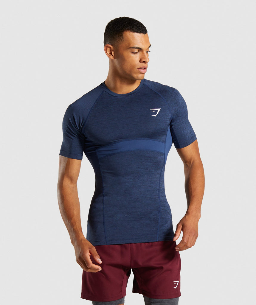 Gymshark Element+ Baselayer T-Shirt - Dark Blue Marl 1