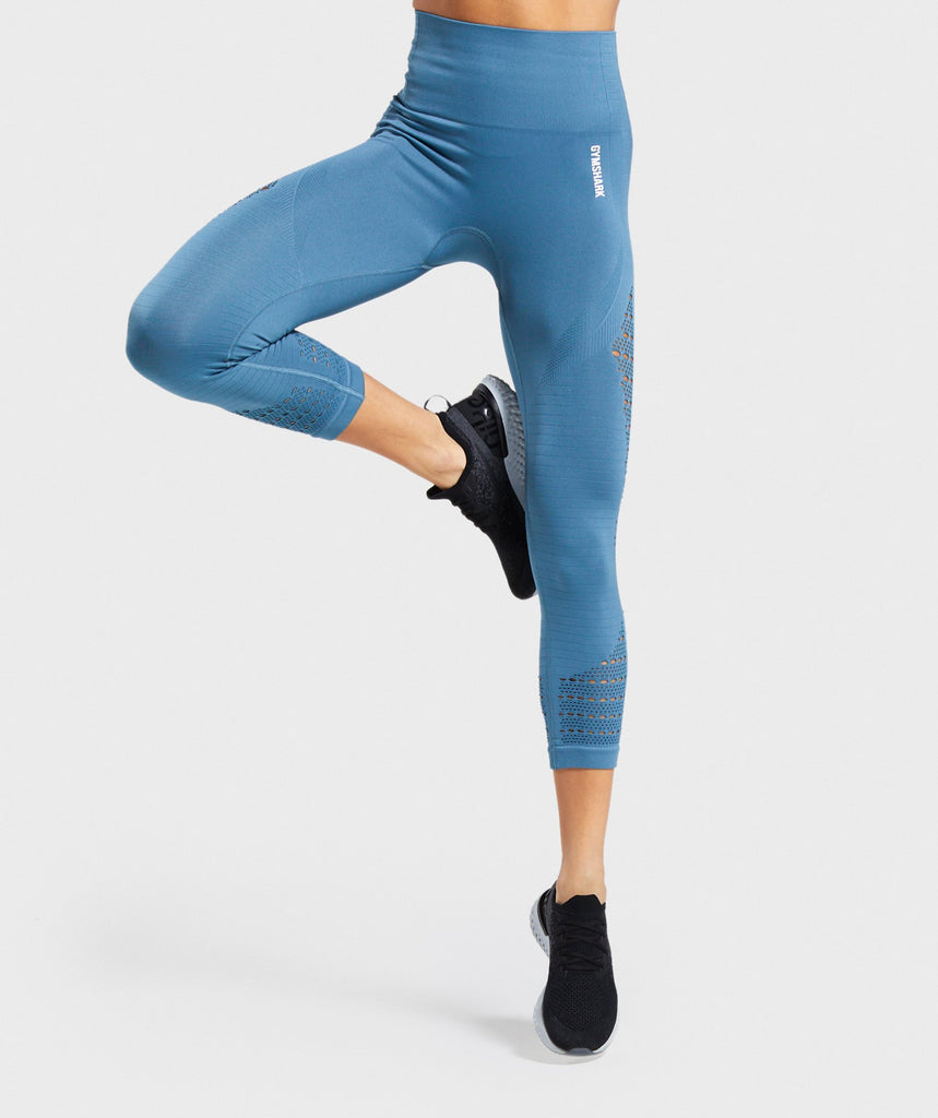 Gymshark Energy+ Seamless Cropped Leggings - Blue Stone 1