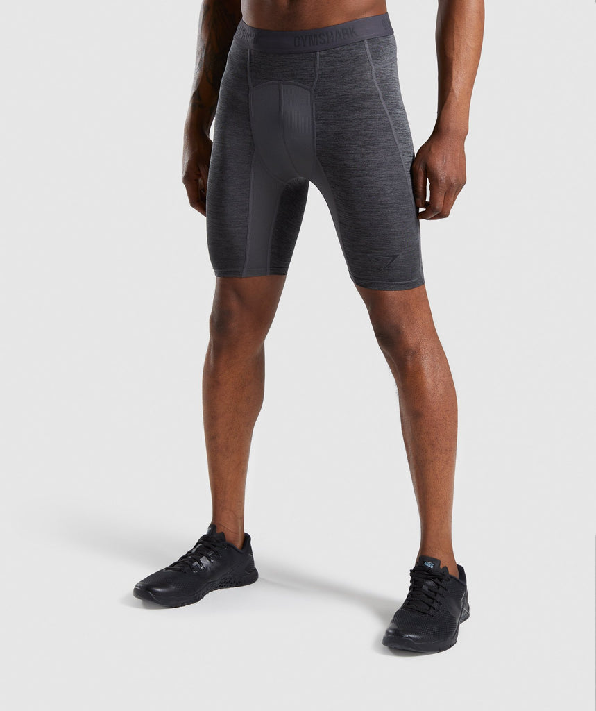 Gymshark Element+ Baselayer Shorts - Black Marl 1