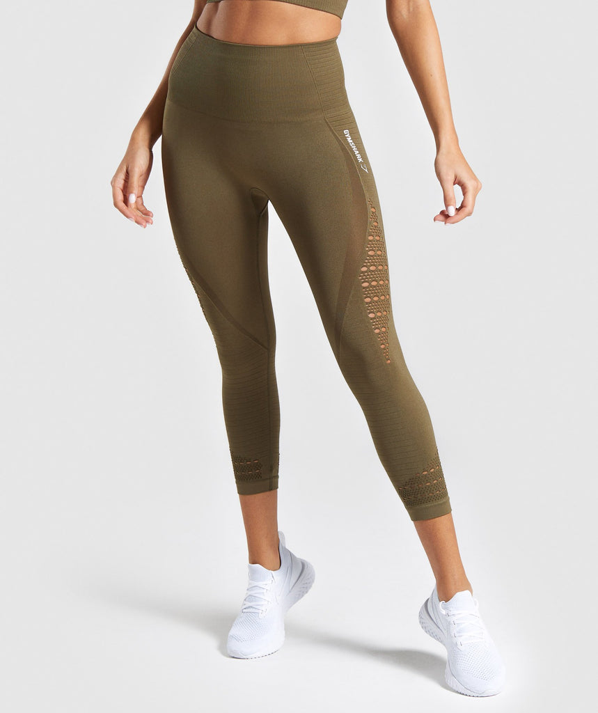 Gymshark Energy Seamless High Waisted Cropped Leggings - Khaki 1