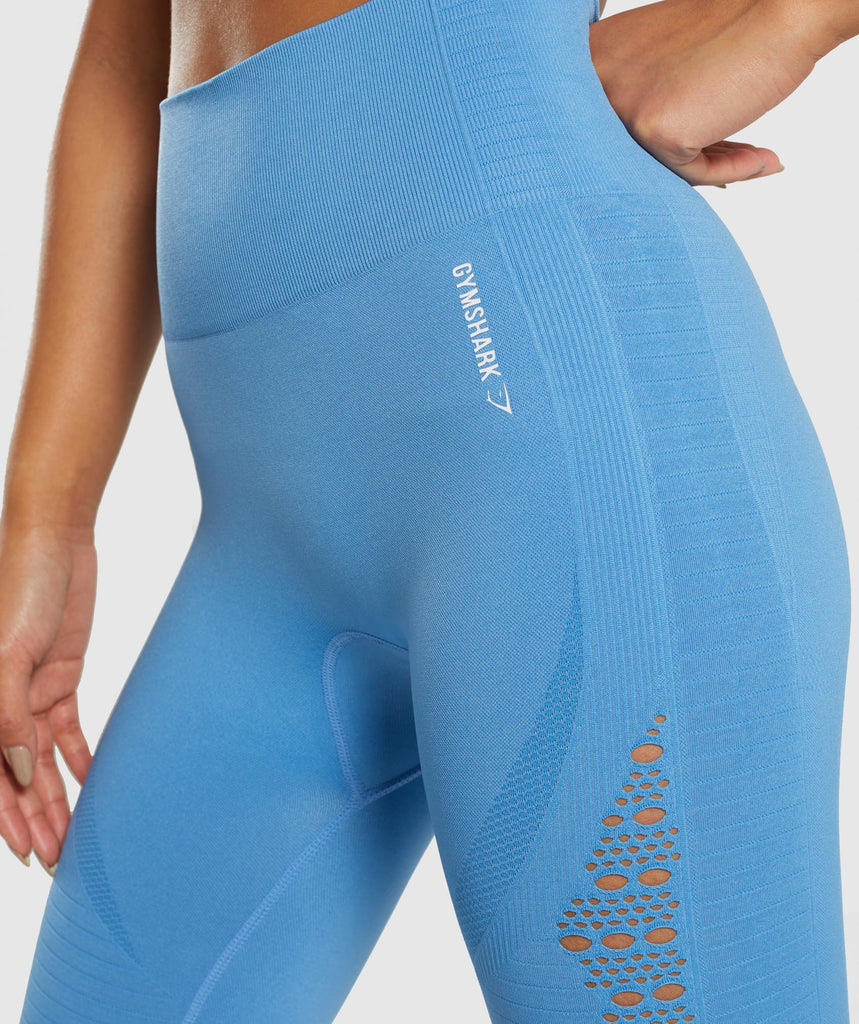Gymshark Energy+ Seamless Cropped Leggings -  Blue 6