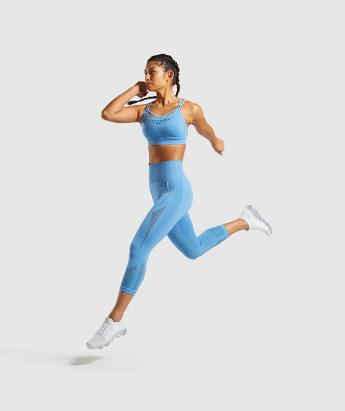 Gymshark Energy+ Seamless Cropped Leggings -  Blue 3