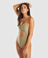 Gymshark Cut Out Swimsuit - Washed Khaki 7