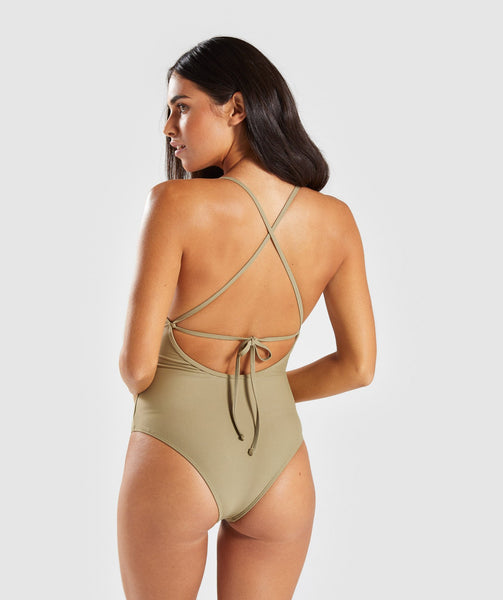 Gymshark Cut Out Swimsuit - Washed Khaki 1