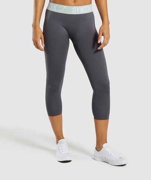 Gymshark Fit Cropped Leggings - Grey/Light Green 4