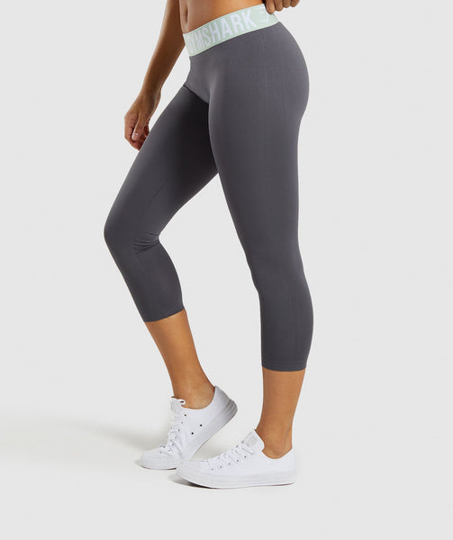 Gymshark Fit Cropped Leggings - Grey/Light Green 2