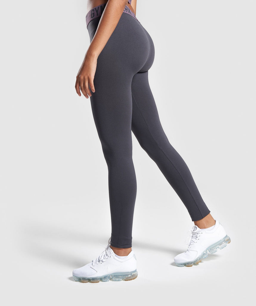 Gymshark Fit Leggings - Charcoal/Purple Wash 2