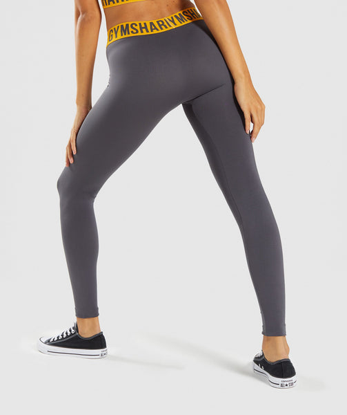 Gymshark Fit Leggings - Charcoal/Citrus Yellow 1