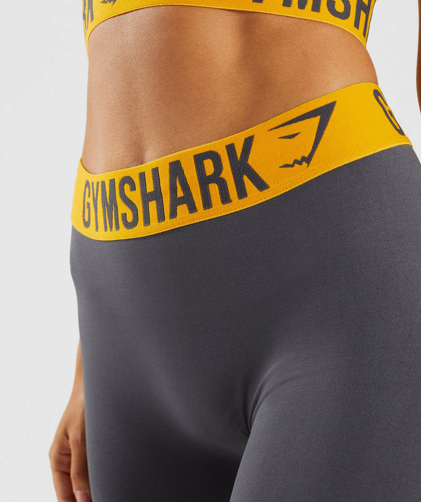Gymshark Fit Leggings - Charcoal/Citrus Yellow 6