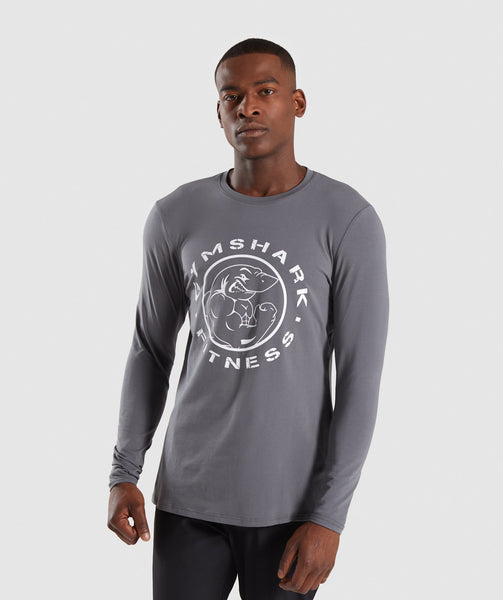 Gymshark Legacy Long Sleeve T-Shirt - Smokey Grey 4