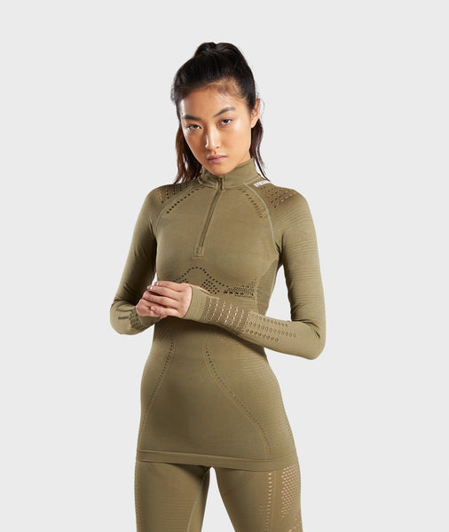 Gymshark Flawless 1/2 Zip Up Pullover - Khaki 4
