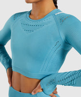 Gymshark Flawless Knit Long Sleeve Crop Top - Sea Blue 12