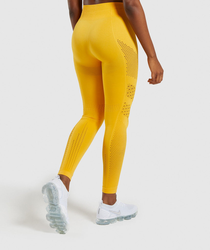 491217c898 ... Gymshark Flawless Knit Tights - Yellow 2
