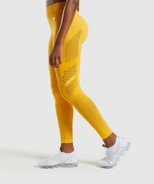 Gymshark Flawless Knit Tights - Yellow 2