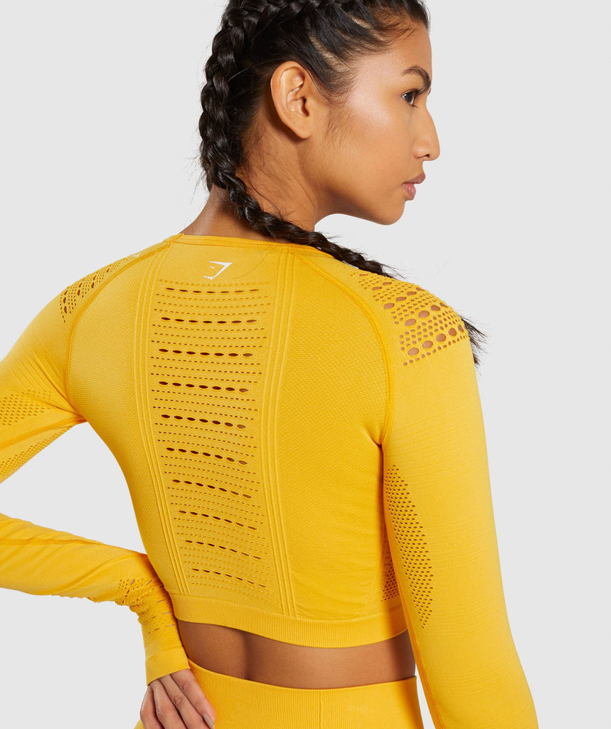 Gymshark Flawless Knit Long Sleeve Crop Top - Yellow 5