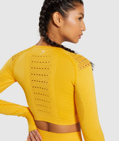 Gymshark Flawless Knit Long Sleeve Crop Top - Yellow 11