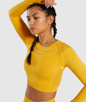 Gymshark Flawless Knit Long Sleeve Crop Top - Yellow 12