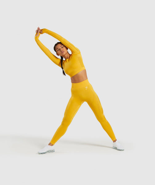 Gymshark Flawless Knit Long Sleeve Crop Top - Yellow 3