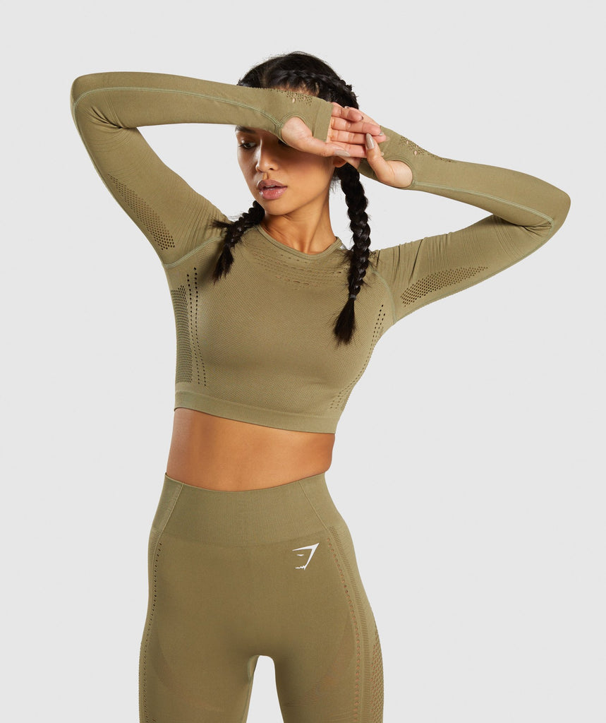 Gymshark Flawless Knit Long Sleeve Crop Top - Khaki 1