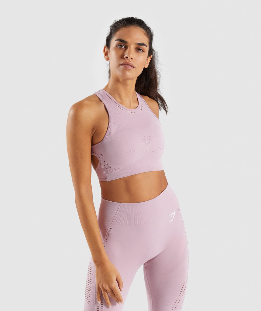 Gymshark Flawless Knit Sports Bra - Washed Lavender 1