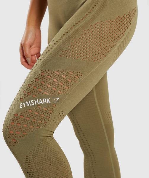 383d361efa496 Gymshark Flawless Knit Tights - Khaki | Gymshark