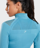 Gymshark Flawless 1/2 Zip Up Pullover - Teal 12