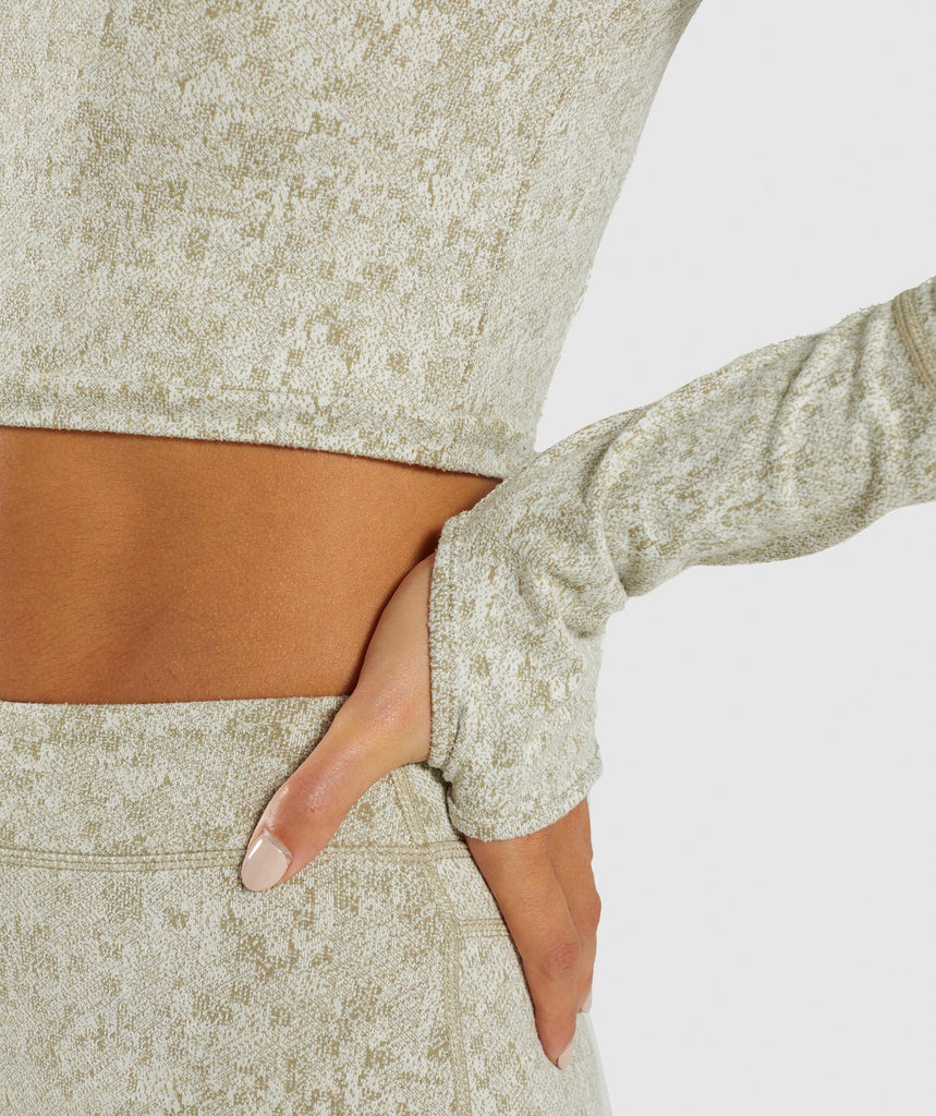 Gymshark Fleur Texture Long Sleeve Crop - Washed Khaki Marl 5