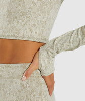 Gymshark Fleur Texture Long Sleeve Crop - Washed Khaki Marl 11