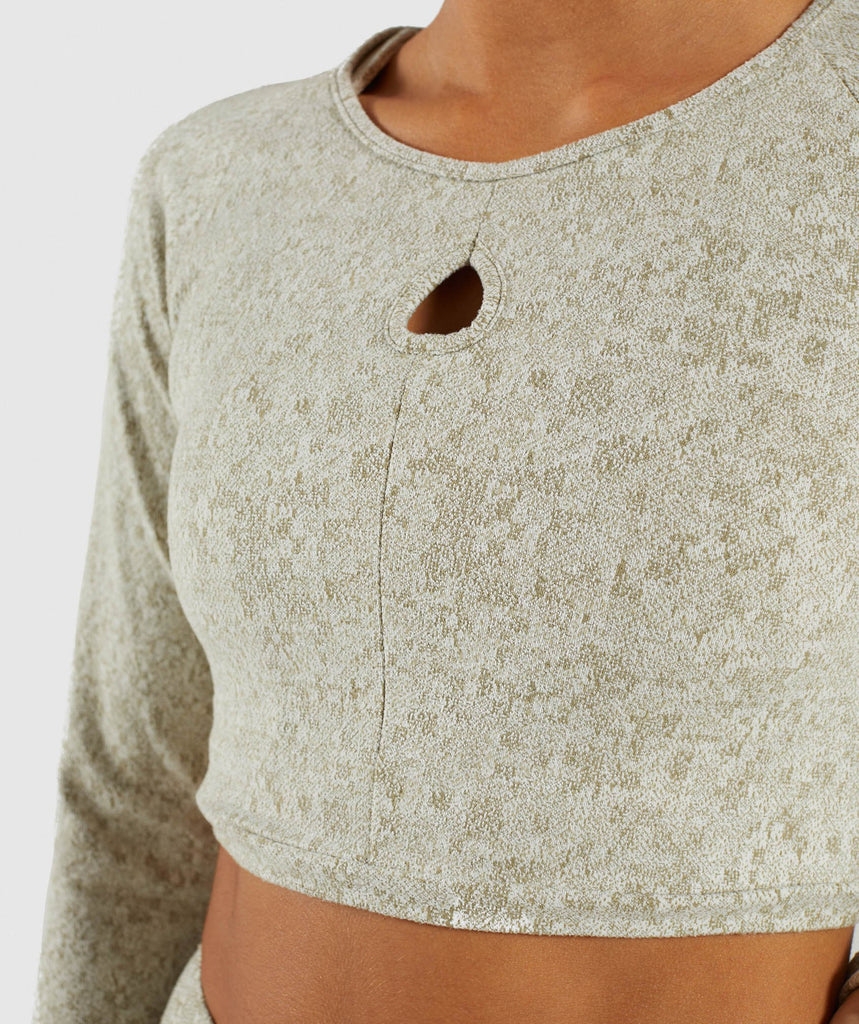 Gymshark Fleur Texture Long Sleeve Crop - Washed Khaki Marl 6