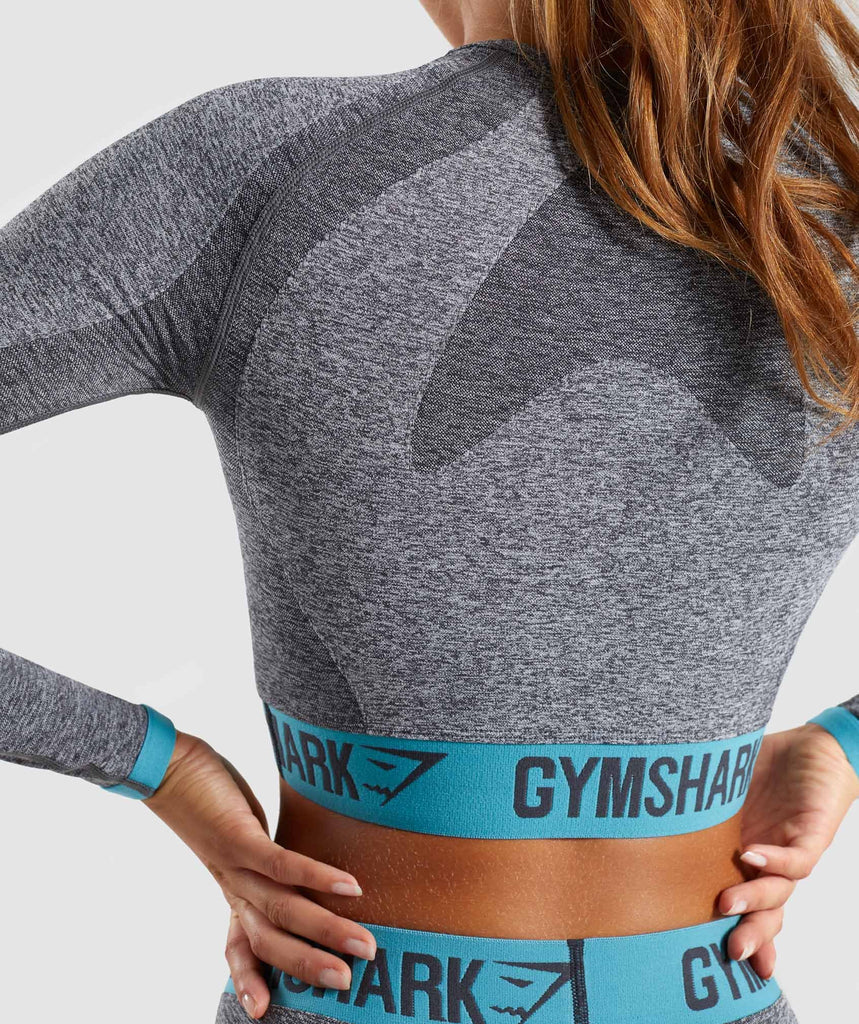 Gymshark Flex Long Sleeve Crop Top - Charcoal Marl/Dusky Teal 6