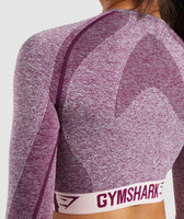 Gymshark Flex Long Sleeve Crop Top - Dark Ruby/Blush Nude 12