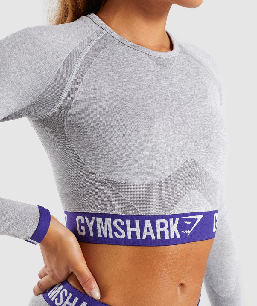 Gymshark Flex Long Sleeve Crop Top - Light Grey Marl/Indigo 5