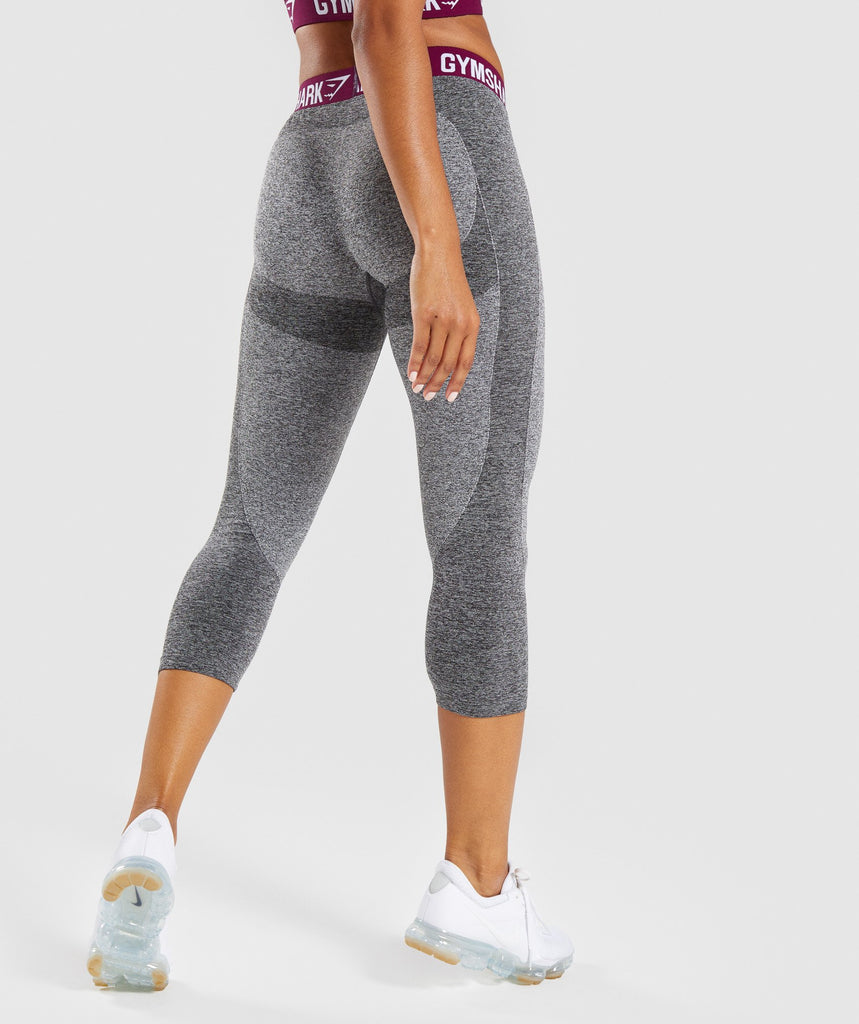 Gymshark Flex Cropped Leggings - Charcoal/Deep Plum 2