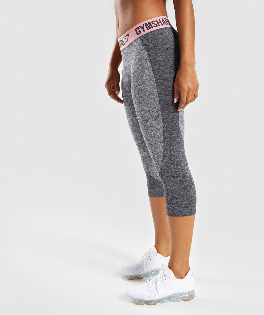 Gymshark Flex Cropped Leggings - Charcoal Marl/Peach Pink 1