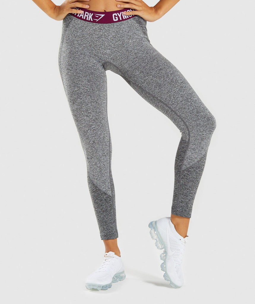 Gymshark Flex Leggings - Charcoal/Deep Plum 1