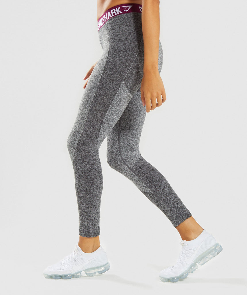 Gymshark Flex Leggings - Charcoal/Deep Plum 2