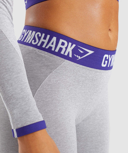 Gymshark Flex Leggings - Light Grey Marl/Indigo 4