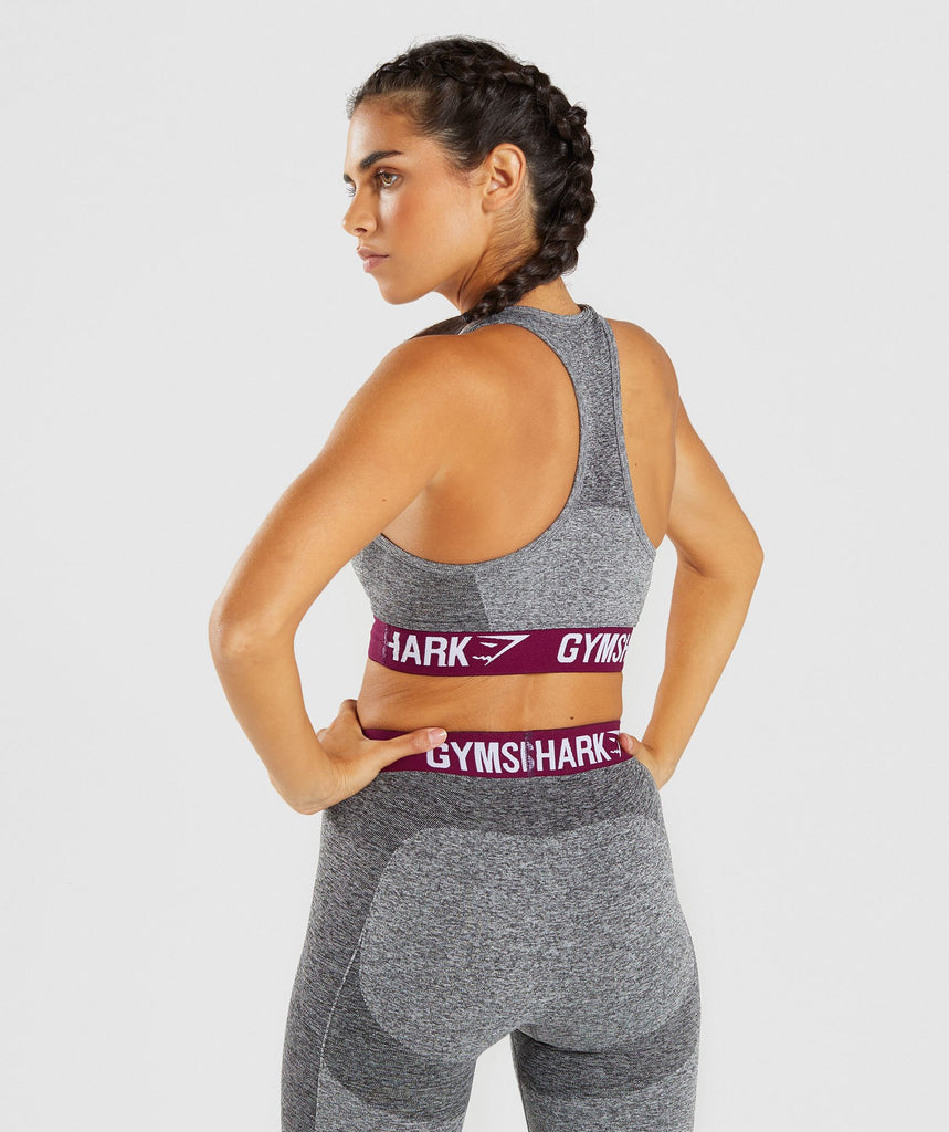 Gymshark Flex Sports Bra - Charcoal/Deep Plum 2