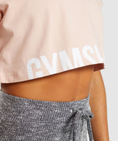 Gymshark Fraction Crop Top - Blush Nude/White 12