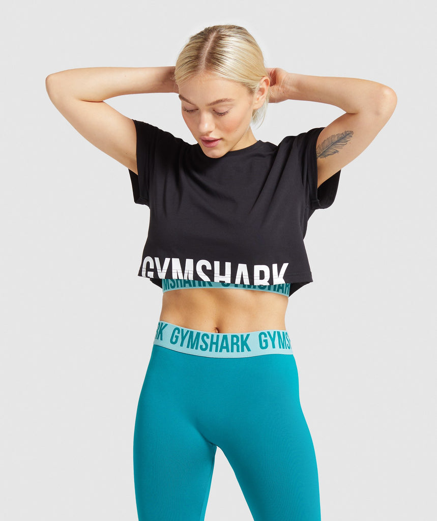Gymshark Fraction Crop Top - Black/White 1