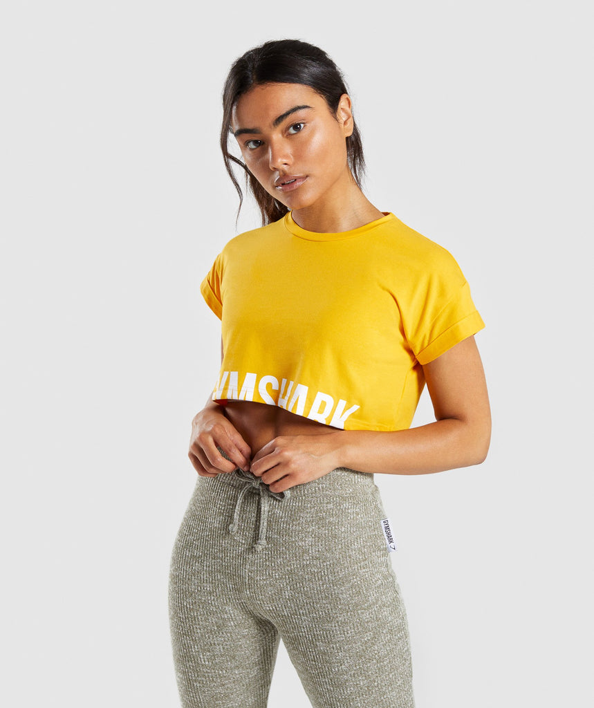 Gymshark Fraction Crop Top - Citrus Yellow/White 1