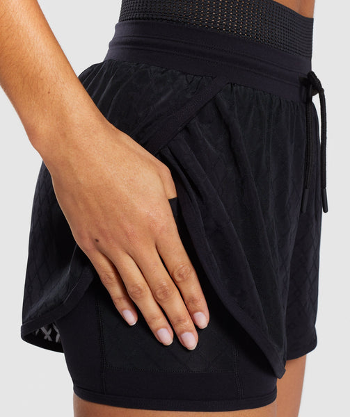 Gymshark Geo Mesh Two In One Short - Black 4
