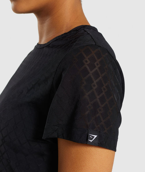 Gymshark Geo Mesh Two In One Top - Black 4
