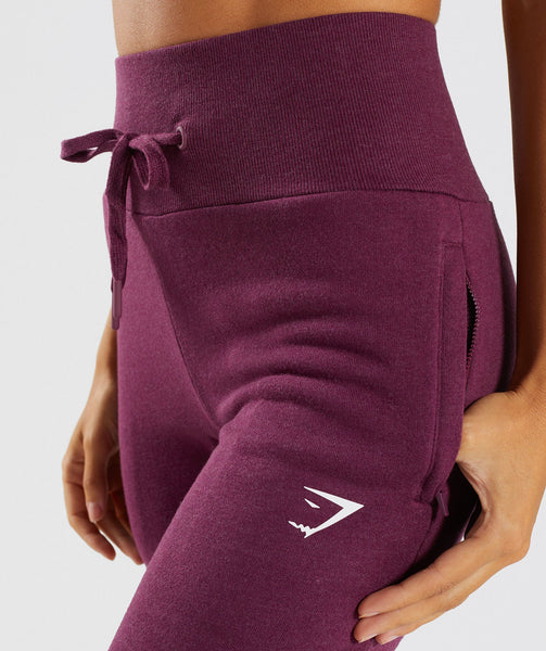 Gymshark High Waisted Joggers - Dark Ruby Marl 4